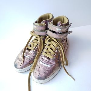 Puma Sky pink metallic high tops with gold laces